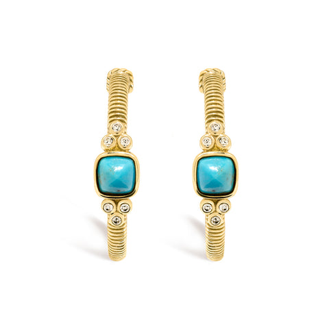 RIPKA La Petite Turquoise Sugarloaf Stone Hoop Earrings with Diamond Accents