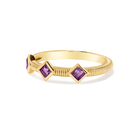 RIPKA La Petite Band Ring with Three Square Cut Amethyst Stones