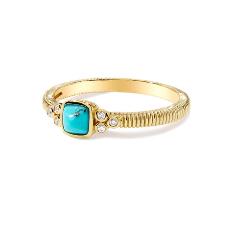 RIPKA La Petite Turquoise Sugarloaf Stone Band Ring with Diamond Accents