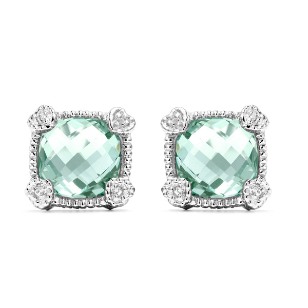 Little Luxuries Cushion Shape Paraiba Spinel & White Topaz Stud Earrings