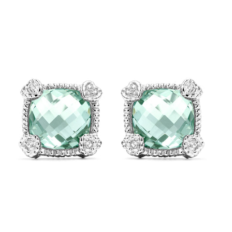 RIPKA La Petite Cushion Shape Paraiba Spinel & White Topaz Stud Earrings