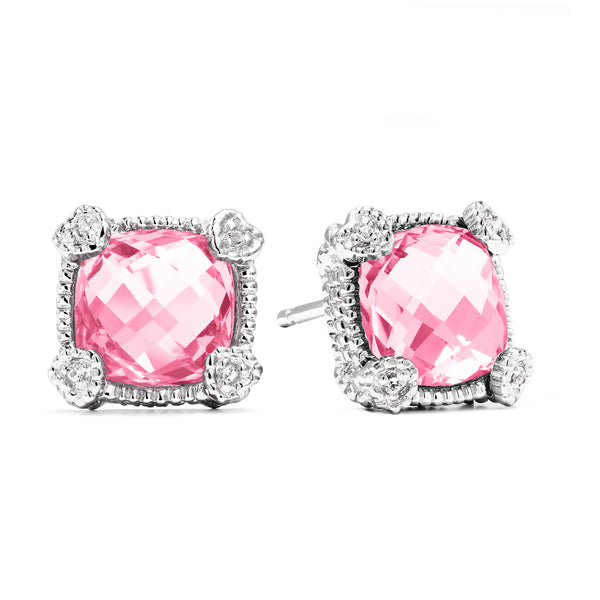 Little Luxuries Cushion Shape Synthetic Pink Sapphire & White Topaz Stud Earrings