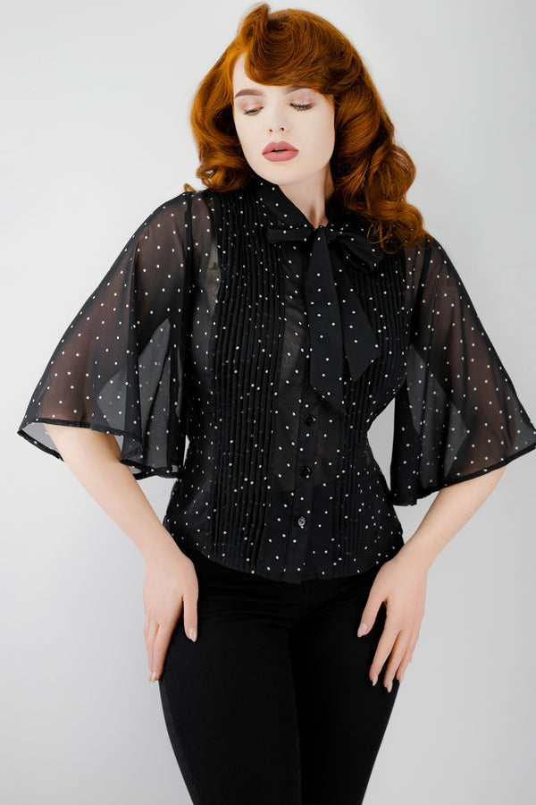 Black Pleat Polka Dot Blouse with Wide Sleeves