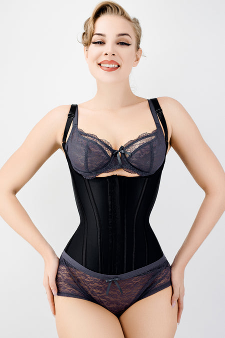Corset Story Black Latex Underbust Corset with adjustable Bra Straps