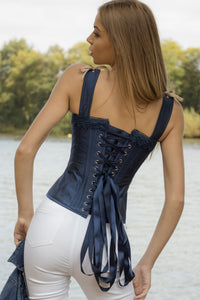 Midnight Blue And Beige Overbust Lace Trim And Straps