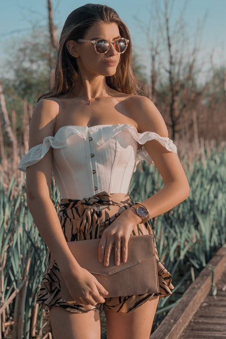 White Cotton Straight Bustline Corset Top With Off The Shoulder Sleeves