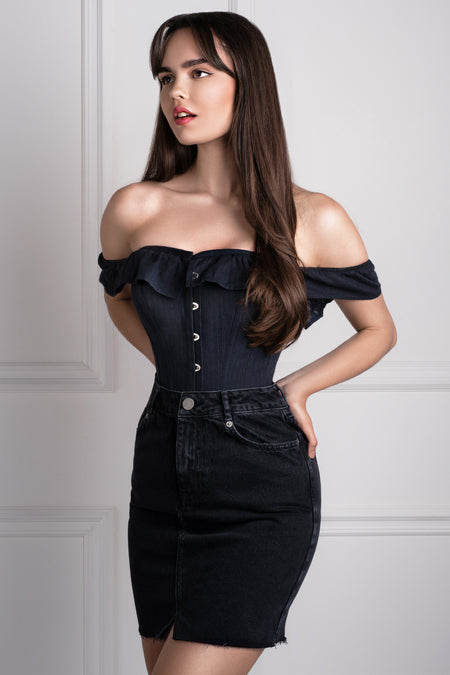 78bccd2383b410 Black Cotton Straight Bustline Corset Top With Off The Shoulder Sleeves ...