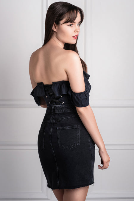 Used Black Sweetheart Corset Dress