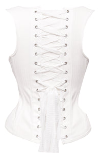 White Cotton High Back Underbust Corset With Shoulder Straps