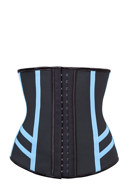 Black Latex Underbust Shapewear With Sporty Blue Elastic Details