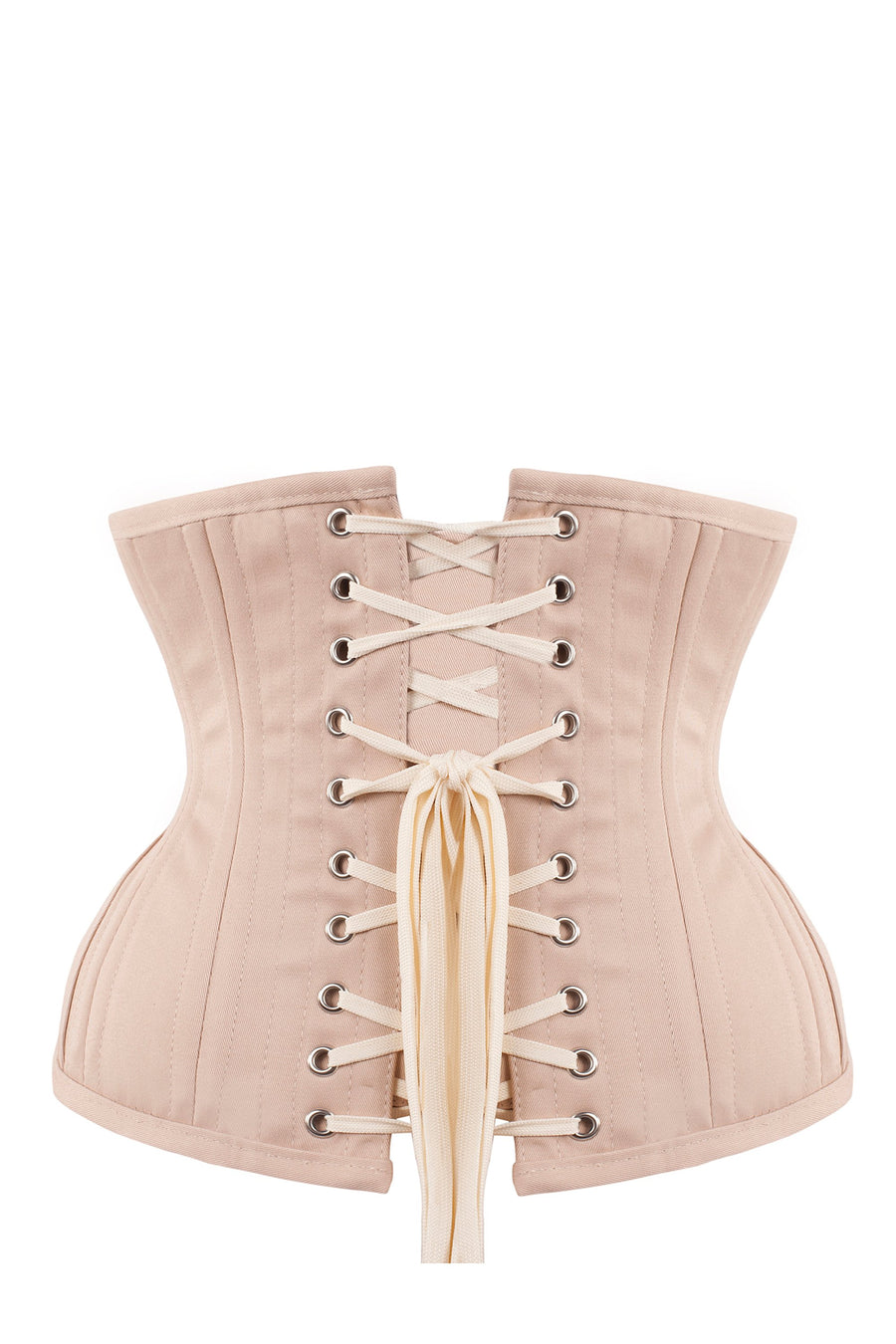 Underbust Waist Trainer In Pinky Beige Cotton Twill- Curved Hem And Hip Panels