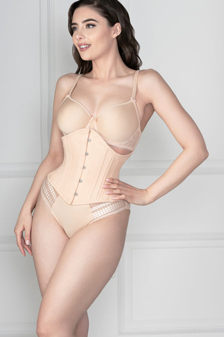 Beige Cotton Waist Training Waspie Corset