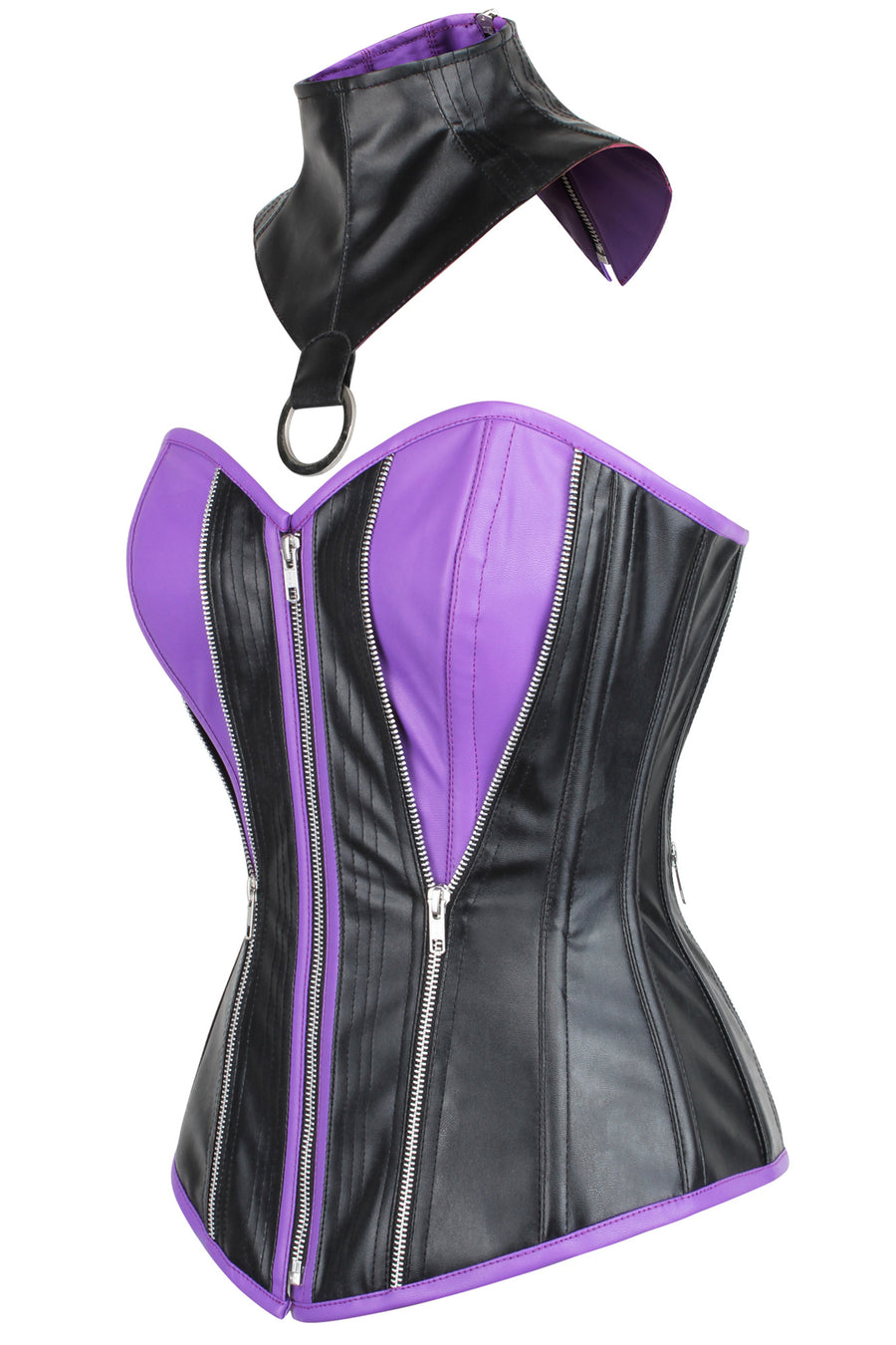 PVX Purple & Black Zipped Corset with Choker