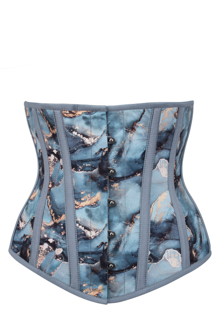 Blue and Gold Marble Underbust Corset