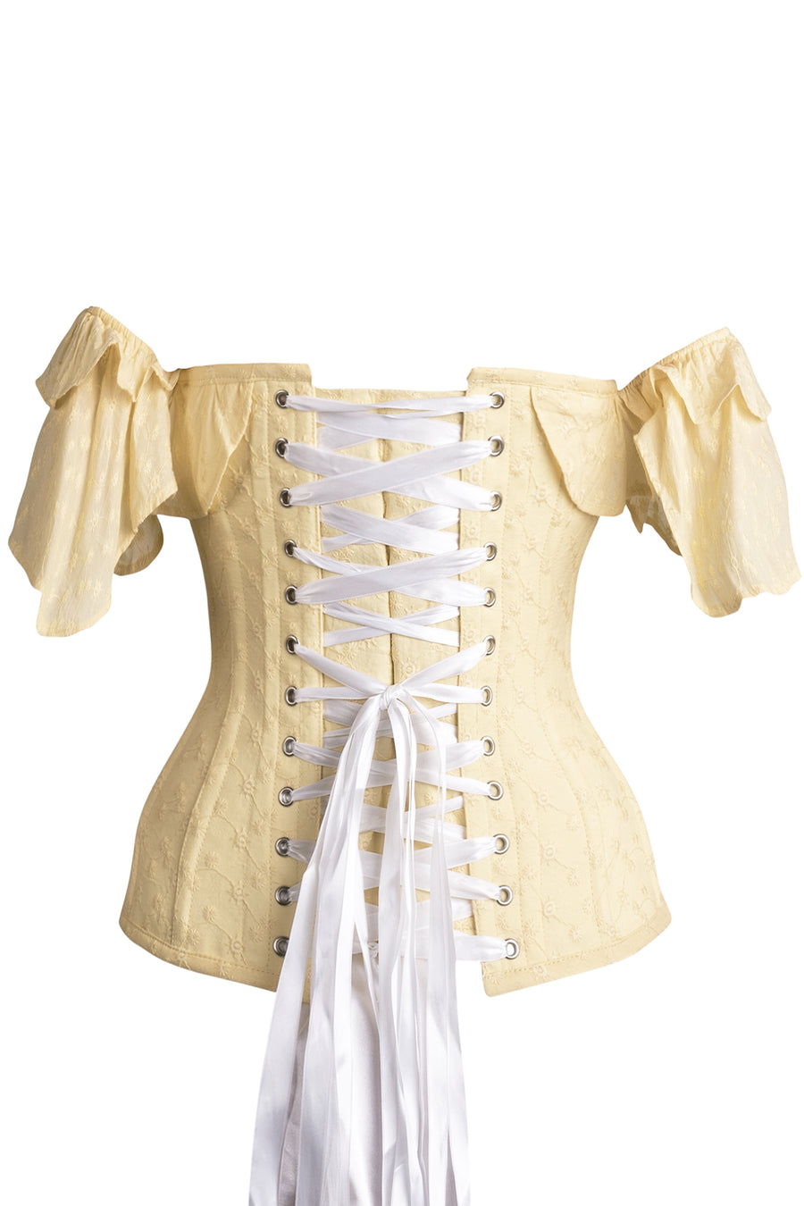 Yellow embroidery anglaise cotton corset top with filled sleeve