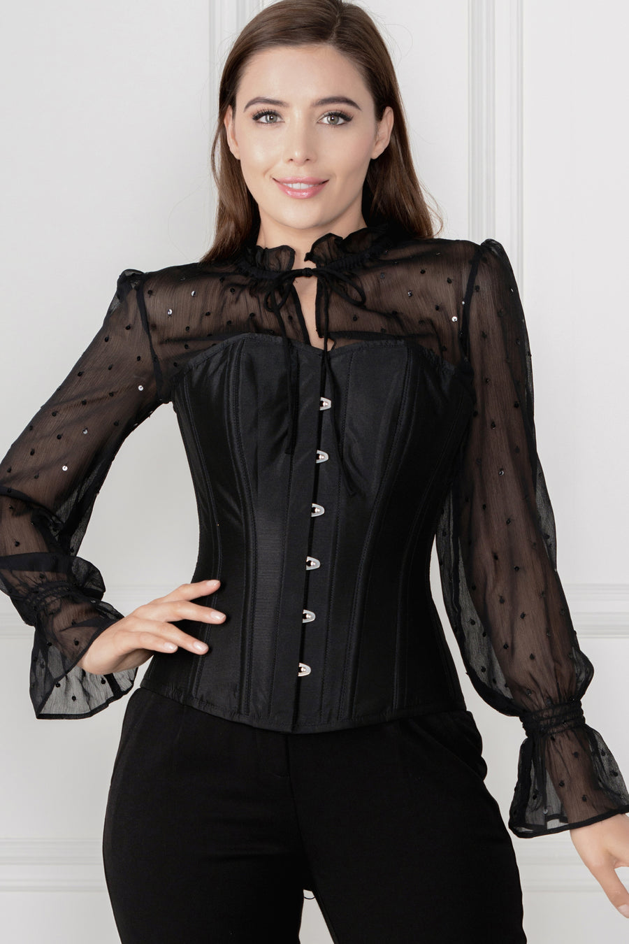 Black Sequin Overbust Sleeved Corset Top
