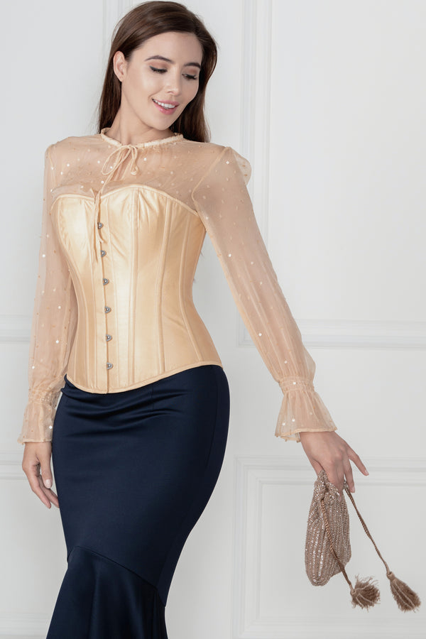 Champagne Sequin Overbust Sleeved Corset Top