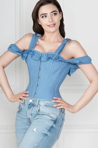 Cornflower Blue Cotton Overbust With Sleeves And Shoulder Straps