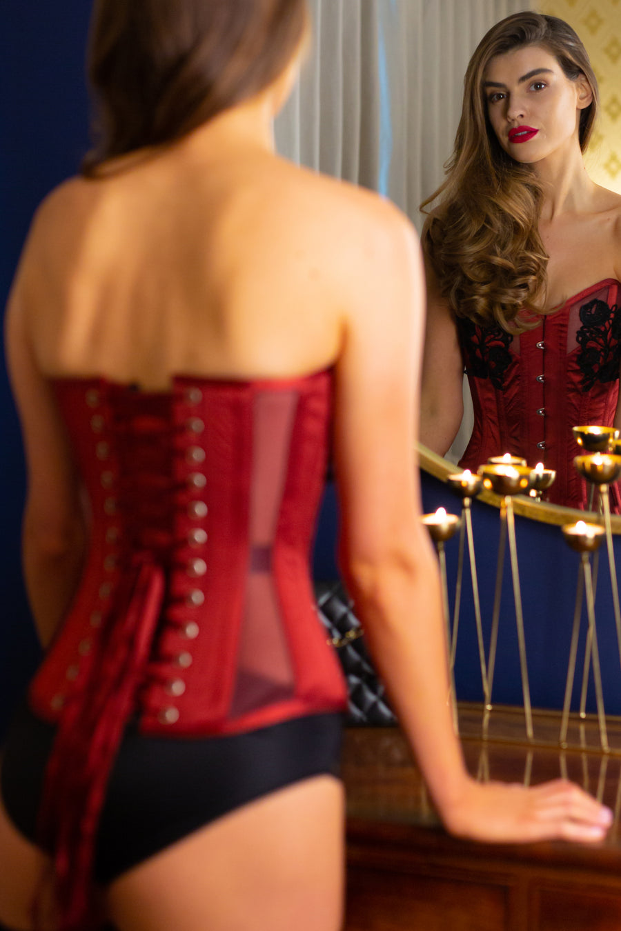 Red Satin and Mesh Corset