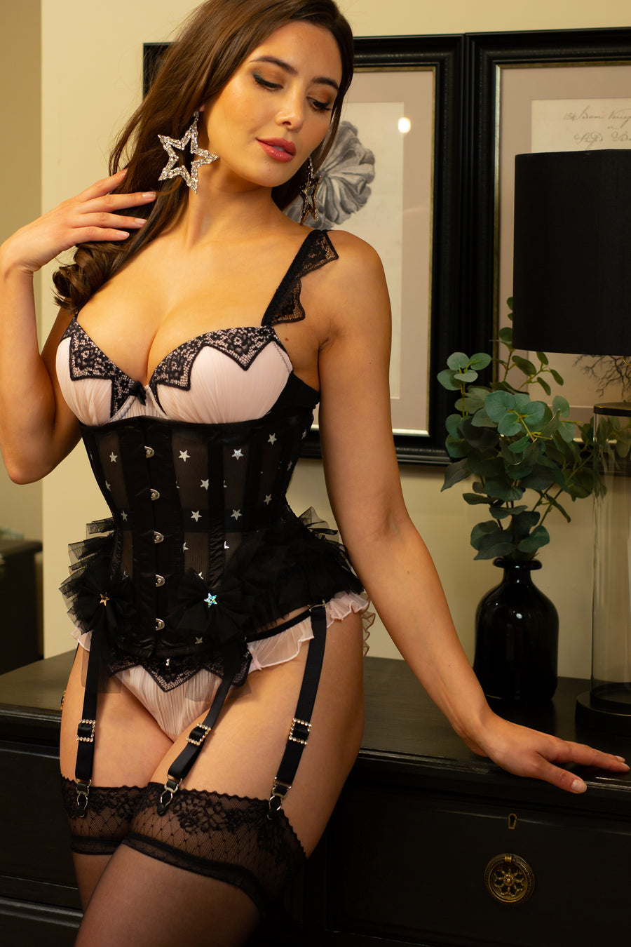 Black Mesh Underbust corset with Stars