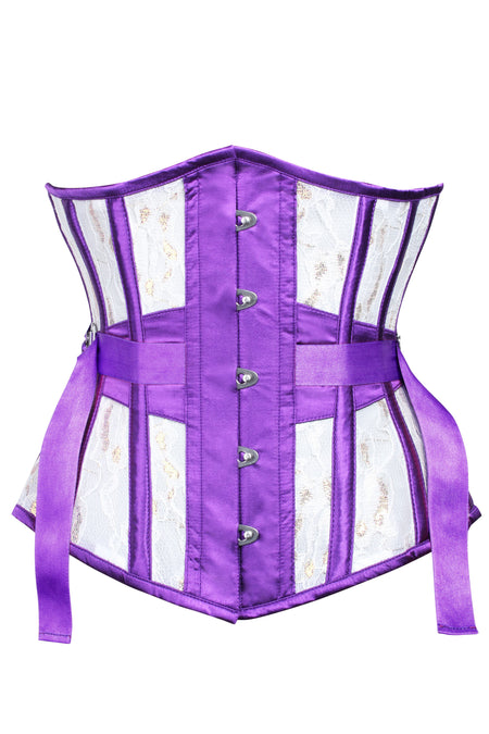 Fan Lacing Lace Overlay Mesh Underbust Corset