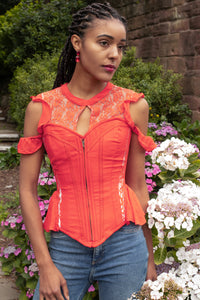 Red Hot Panelled Corset Top with Sleeves