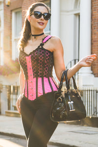 Hot Pink Corset Top with Broderie Anglaise