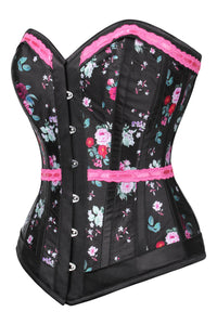 Vintage Inspired Black Overbust Corset With Dusky Rose Ribbon