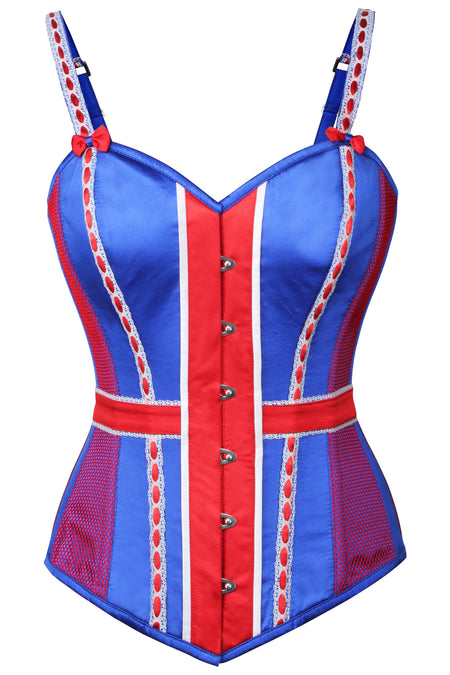 Blue Satin Union Jack Overbust Corset