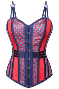 USA Flag Overbust Corset With Star Strap Detail