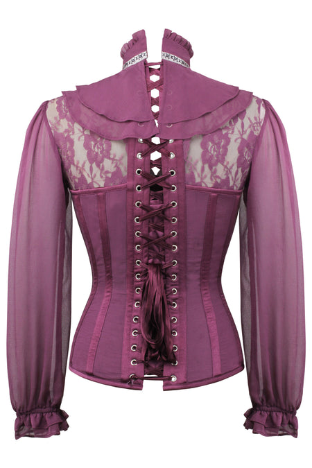 Dark Plum Corset Shirt With Puff Sleeves