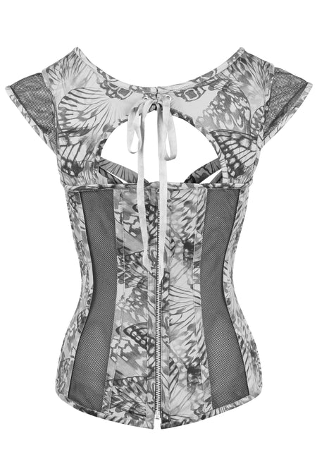 Dark Grey Wing Print Gothic Overbust Corset