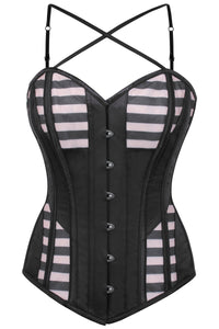 Caged Effect Mesh and Satin Overbust Corset