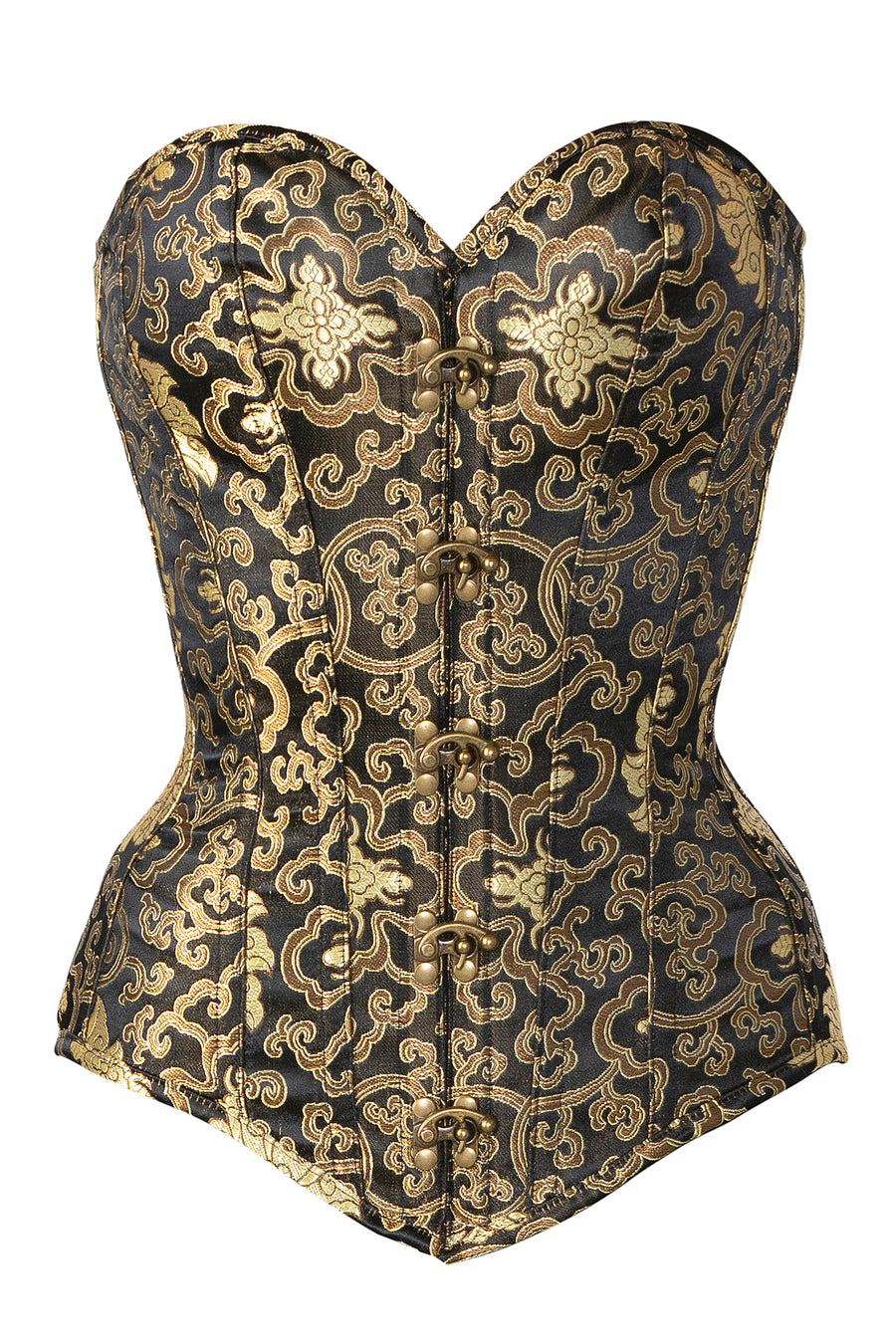 Black With Gold Brocade Pattern Longline Overbust With Hooks