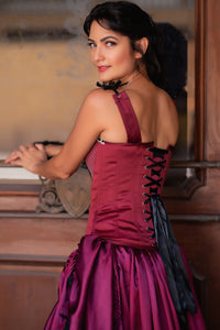 Burgundy Satin Overbust With Straps, Stitched Panels And Lace