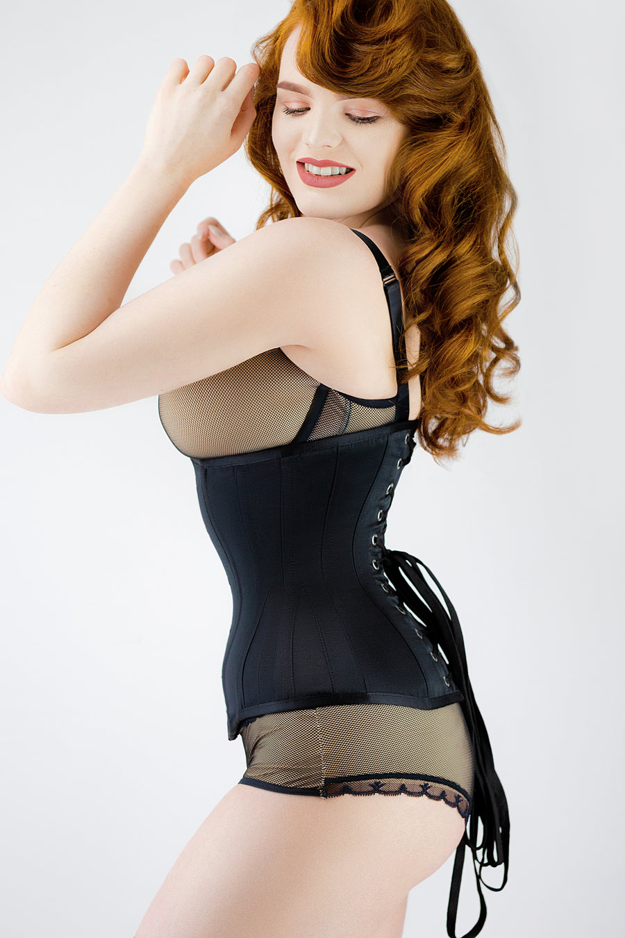 Long Black Underbust Waist Taming Corset