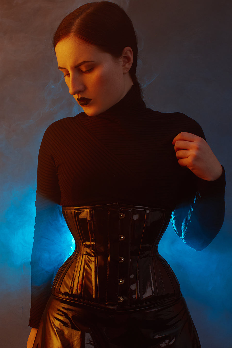 Black PVC Classic Underbust Waist Trainer With Hip Gores