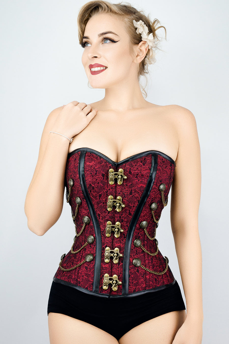 0a905f0cfd Red Steampunk Corset With Chains – Corset Story UK