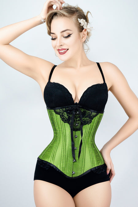 Green Underbust With Black Bow And Lace Detail