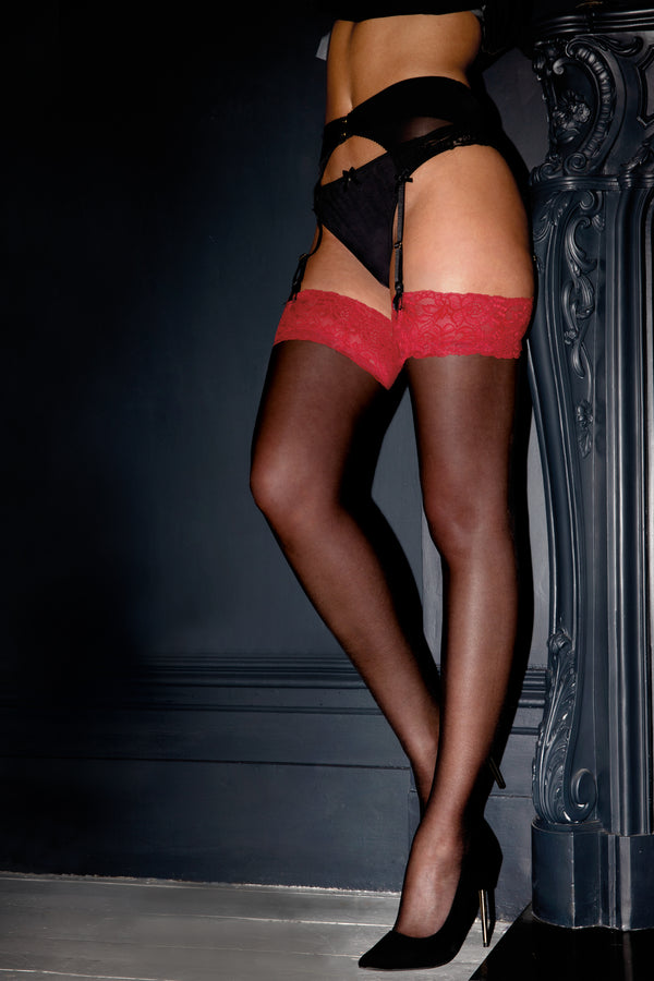 Allure Lace Top 15 Denier Stocking - Black/Red