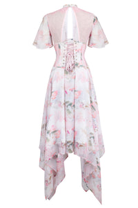 Floral Pink Full Steel Boned Corset Dress