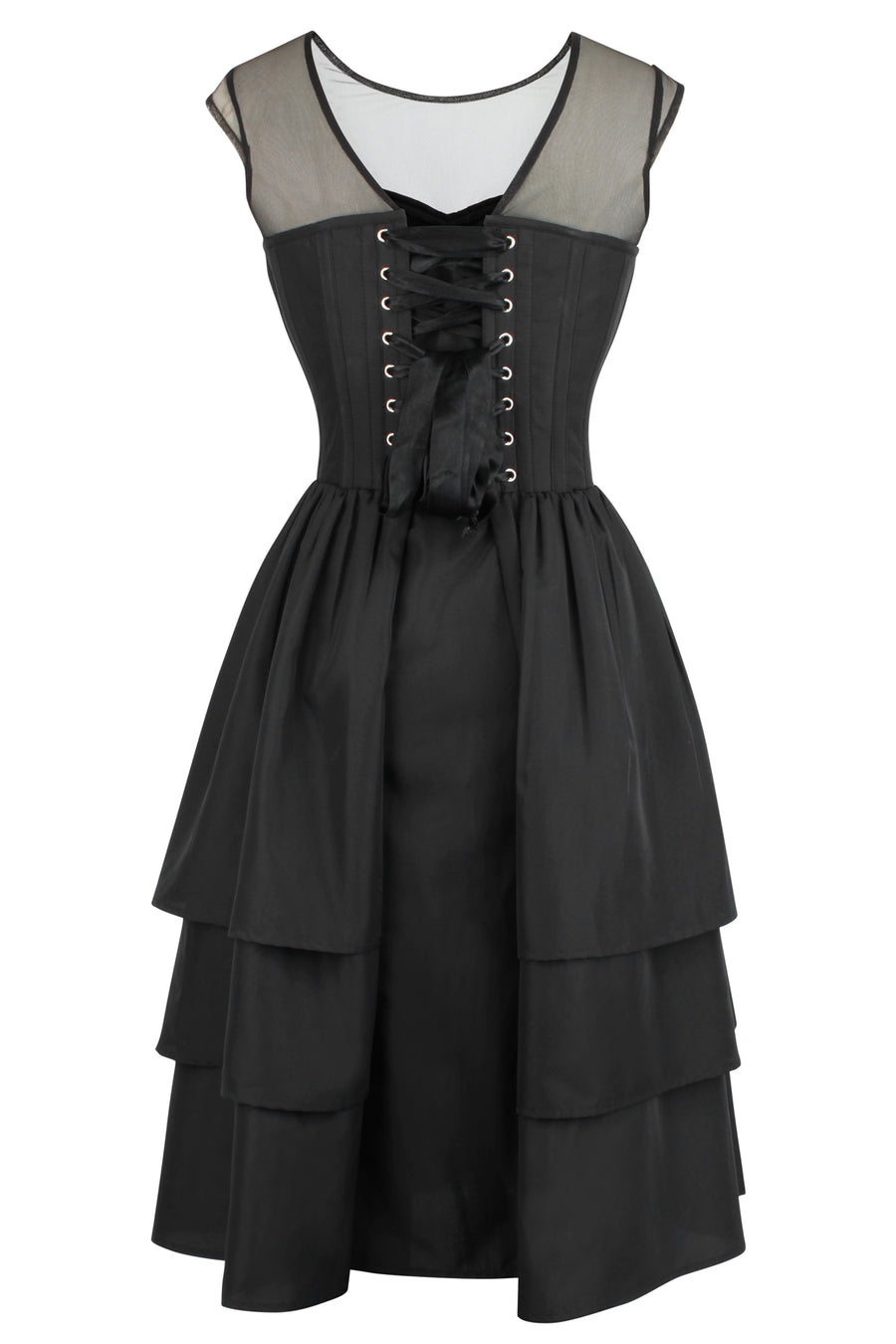Black Corset Dress with Mesh Sleeves