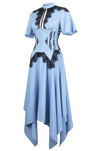 Baby Blue Corset Dress with Lace Trim