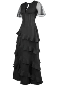 Black Corseted Cascading Dress