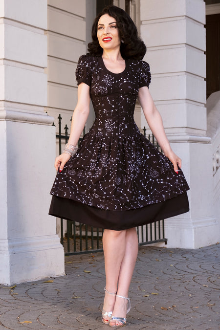 Black Astronomy Print Corset Dress