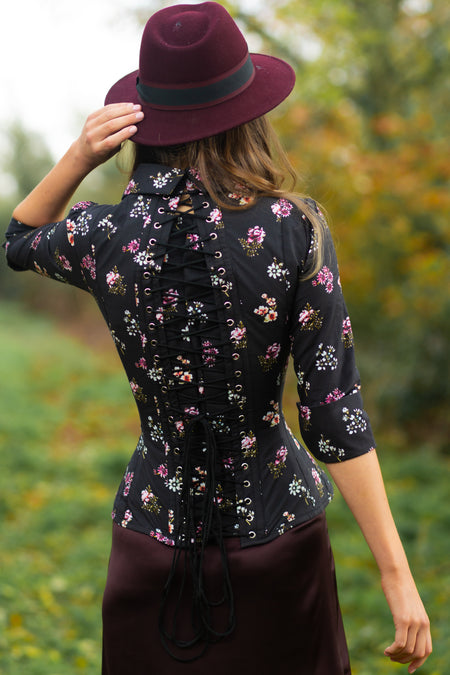 Black Floral Print Cotton Corset Shirt