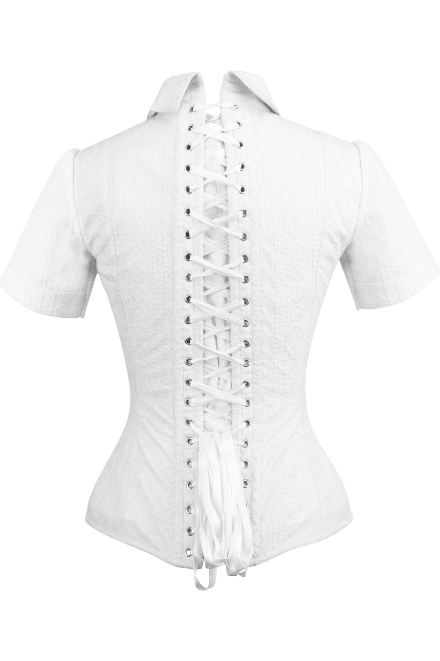 Short Sleeved White Cotton Corset Shirt
