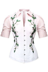 Pink and White Elasticated Corset Shirt