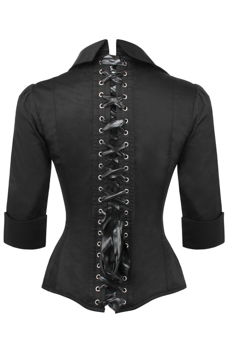 Black Satin Corset Shirt