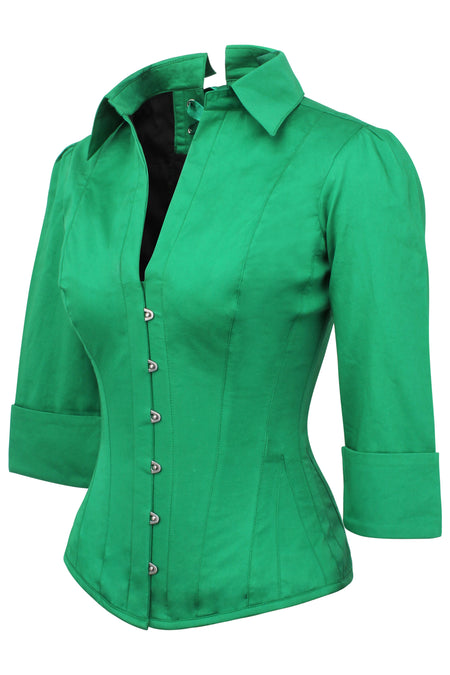 Emerald Green Corset Shirt